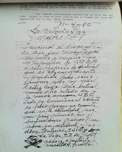 Carta de supuesta amenaza contra Octavio Paz